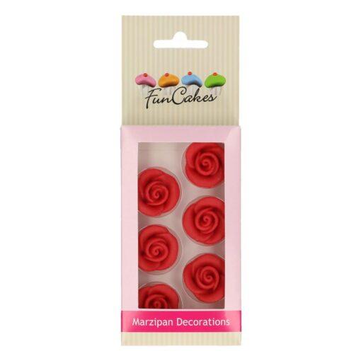 Decoratiuni Trandafiri Martipan -ROSU– 6 Buc – FunCakes
