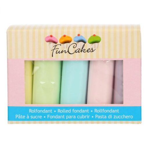 Pachet de Fondante Rulate in Culori Pastelate – 5x100g - FunCakes