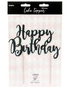 "Ornament pentru Torturi Aniversare ""Happy Birthday"" - Negru - PartyDeco"
