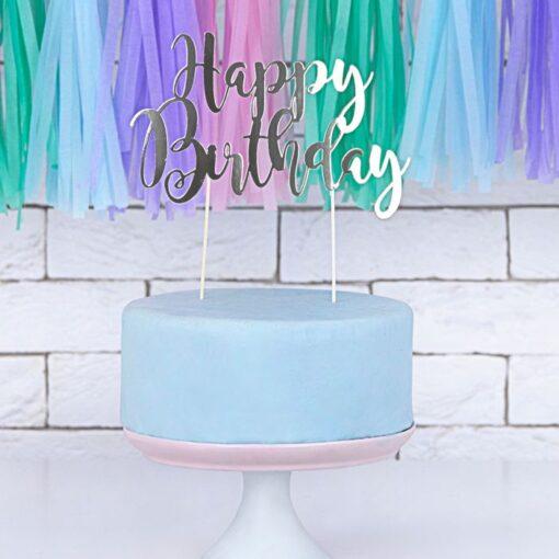 "Ornament pentru Torturi Aniversare ""Happy Birthday"" - Argintiu - PartyDeco"