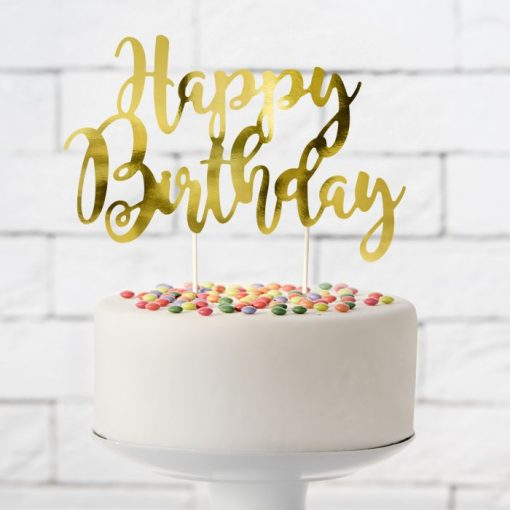 "Topper pentru Torturi ""Happy Birthday"" - Auriu - Party Deco"