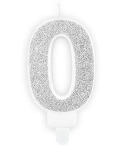 Lumanare Zi de Nastere Numarul 0 - Argintiu - PartyDeco