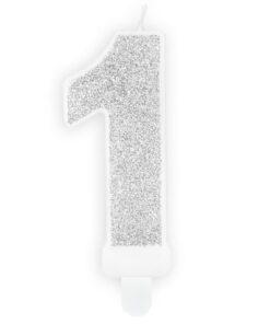Lumanare Zi de Nastere Numarul 1 - Argintiu - PartyDeco