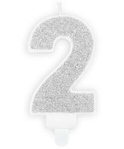 Lumanare Zi de Nastere Numarul 2 - Argintiu - PartyDeco