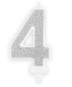 Lumanare Zi de Nastere Numarul 4 - Argintiu - PartyDeco