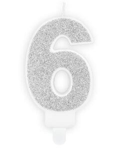 Lumanare Zi de Nastere Numarul 6 - Argintiu - PartyDeco