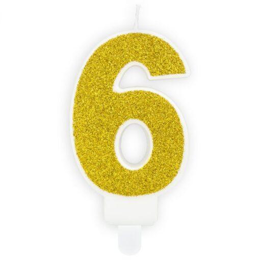 Lumanare Zi de Nastere Numarul 6 - Auriu - PartyDeco