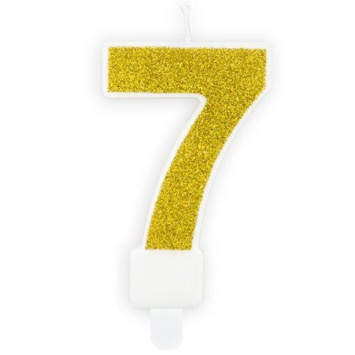 Lumanare Zi de Nastere Numarul 7 - Auriu - PartyDeco