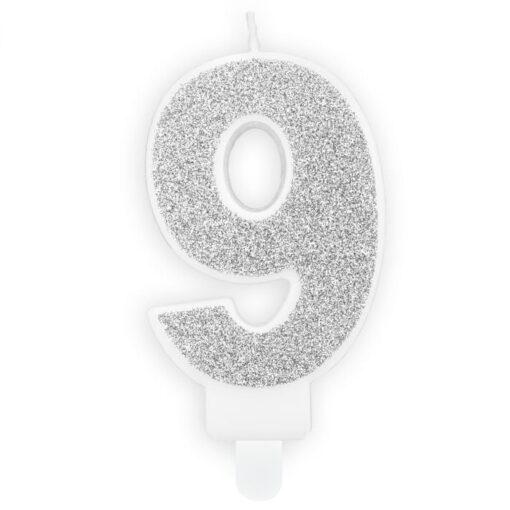 Lumanare Zi de Nastere Numarul 9 - Argintiu - PartyDeco