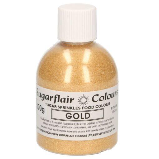 Zahar Fin Sclipicios -100 GR – GOLD / AUR– Sugarflair