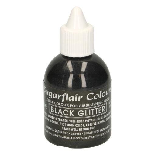 Colorant Aerograf – BLACK GLITTER / NEGRU SIDEFAT – Sugarflair