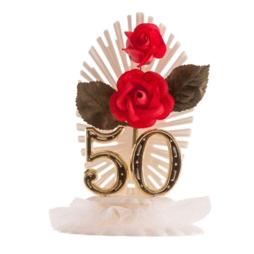 Figurină de tort cu trandafiri - aniversare de 50 de ani- Dekora