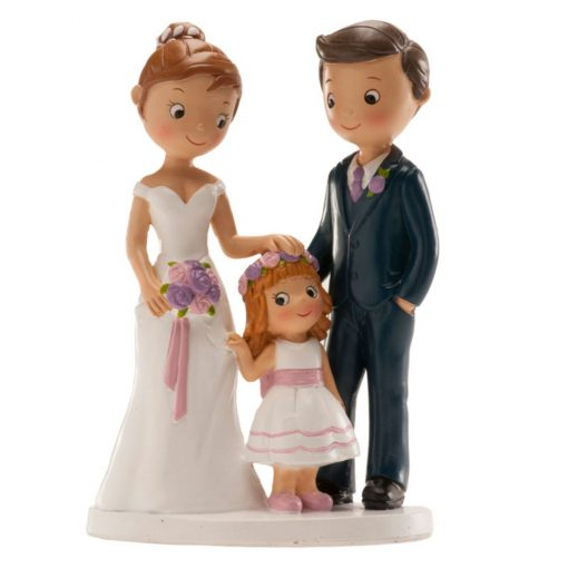 Figurină de tort pentru nuntă – Cuplu căsătorit cu fetiță, 16 CM - Dekora