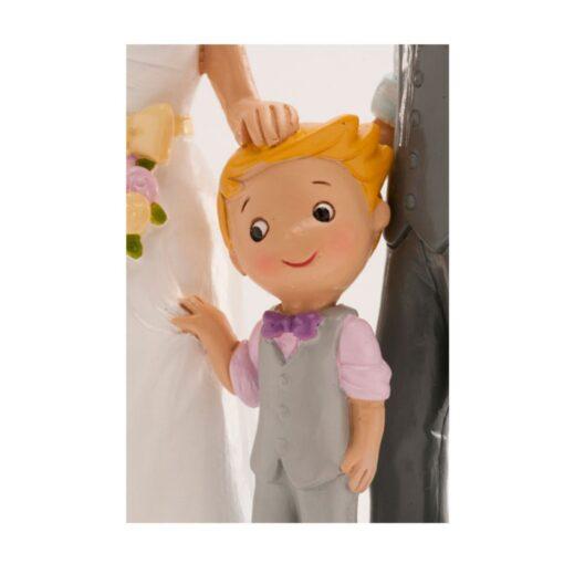 Figurină de tort pentru nuntă – Cuplu căsătorit cu băiat, 16 CM - Dekora