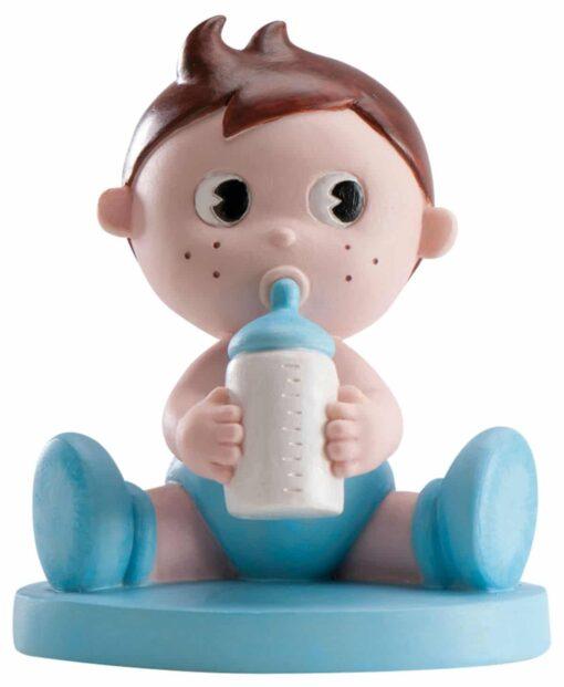 Figurină de tort pentru botez – Băiețel cu biberon, 10 CM - Dekora