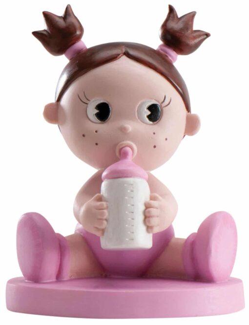 Figurină de tort pentru botez – Fetiță cu biberon, 10 CM- Dekora