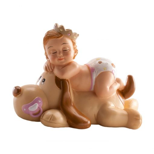 Figurina necomestibilă – Figurină de tort pentru botez – Fetiță cu cațel dormind, 10x7x6 cm- Dekora