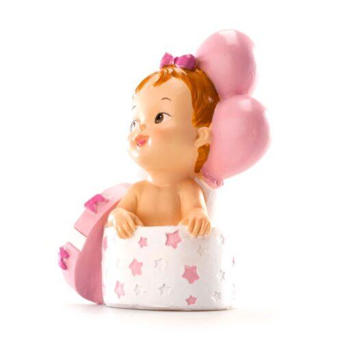 Figurina necomestibilă – Figurină de tort pentru botez – Fetiță cu cadou și baloane, 10.5 CM - Dekora