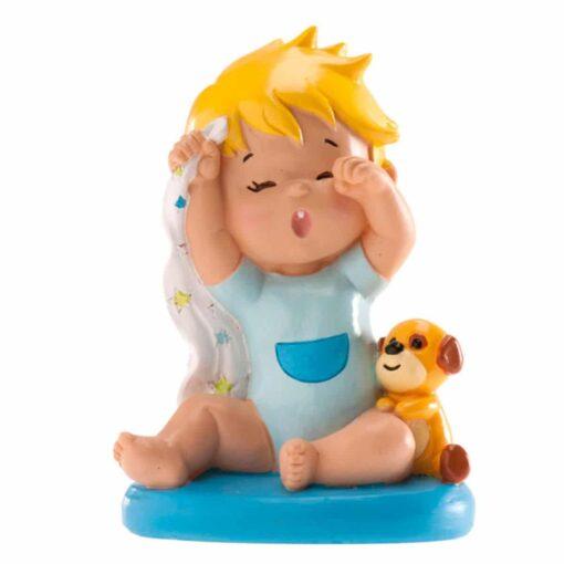 Figurina necomestibilă – Figurină de tort pentru botez – Băiețel albastru care cască, 10 CM - Dekora