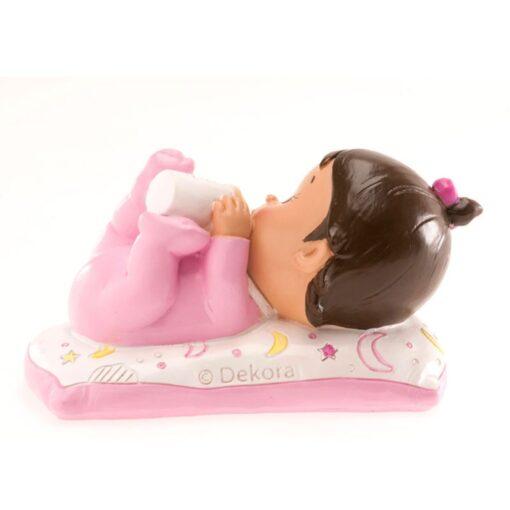 Figurina necomestibilă – Figurină de tort pentru botez – Fetiță cu biberon, 10x6CM - Dekora