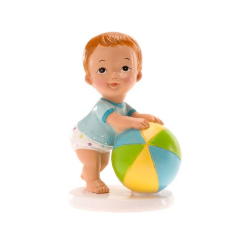 Figurina necomestibilă – Figurină de tort pentru botez – Băiețel cu minge, 10x7CM - Dekora