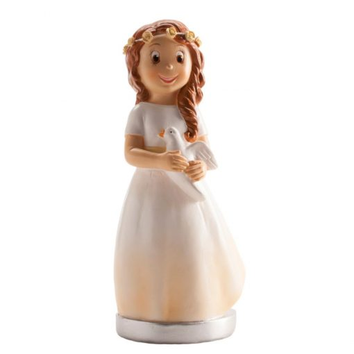 Decorațiune, Figurina tort necomestibilă – FATĂ CU PORUMBEL, 15.5 CM – Dekora