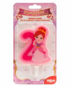 Lumânare cifra 2- Princesă 2D - 7 CM - Dekora