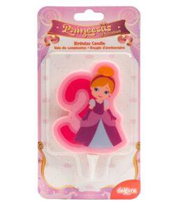 Lumânare cifra 3- Princesă 2D - 7 CM - Dekora