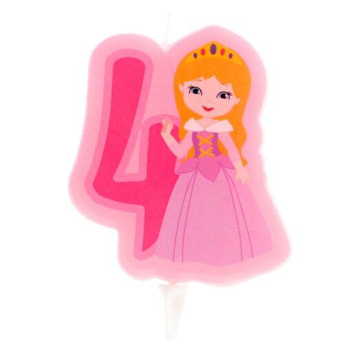 Lumânare cifra 4- Princesă 2D - 7 CM - Dekora