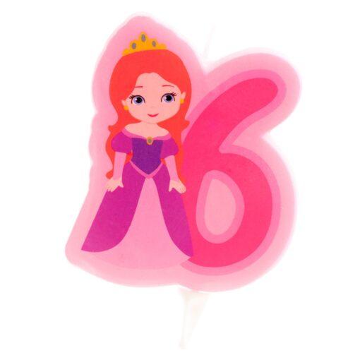 Lumânare cifra 6- Princesă 2D - 7 CM - Dekora