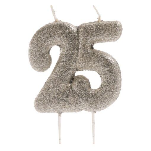 Lumânare pentru aniversare de 25 de ani cu scilipici– 8 CM - Dekora