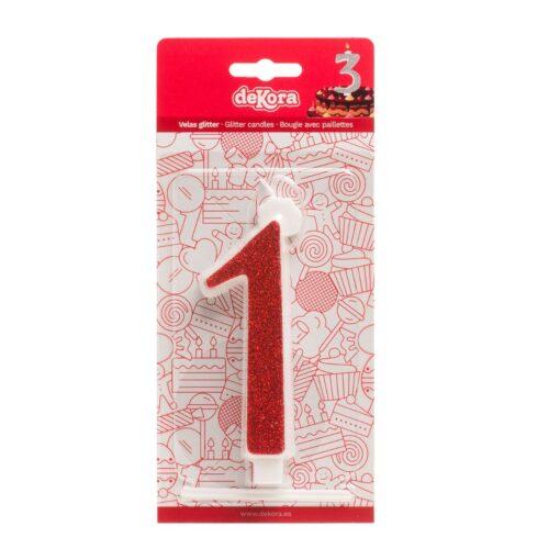Lumânare zi de naștere - roșu cu sclipici – Nr 1 - 13 CM - Dekora