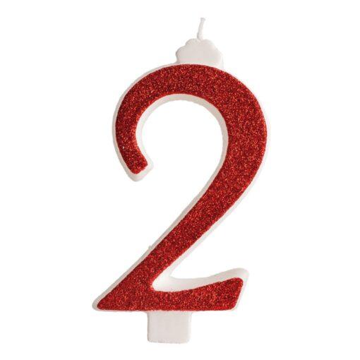 Lumânare zi de naștere - roșu cu sclipici – Nr 2 - 13 CM - Dekora