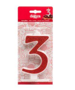 Lumânare zi de naștere - roșu cu sclipici – Nr 3 - 13 CM - Dekora