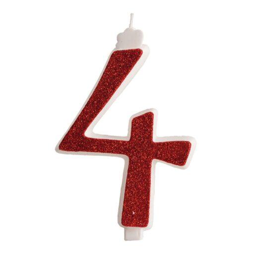 Lumânare zi de naștere - roșu cu sclipici – Nr 4 - 13 CM - Dekora