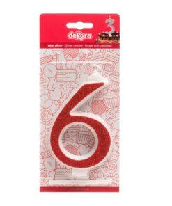 Lumânare zi de naștere - roșu cu sclipici – Nr 6 - 13 CM - Dekora