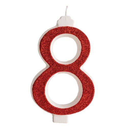 Lumânare zi de naștere - roșu cu sclipici – Nr 8 - 13 CM - Dekora