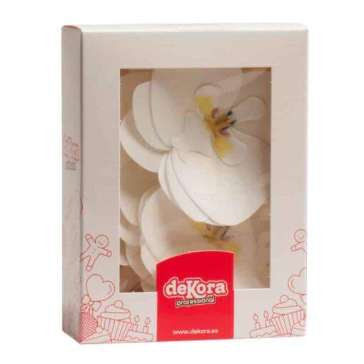 Set 10 Decorațiune tort- Vafe Orhidee Albă-8,5 x 7,5 CM- Dekora