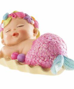Decorațiune tort botez-Sirenă care doarme-10cm-Dekora