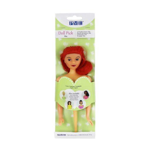 Figurină tort - Păpușă cu păr roșu-PME