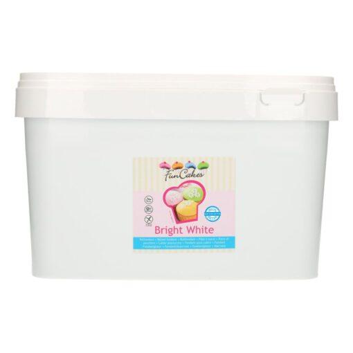 Fondant - Bright White-ALB- 5 kg găleată, FunCakes