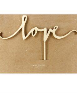 Topper tort din lemn LOVE - Party Deco