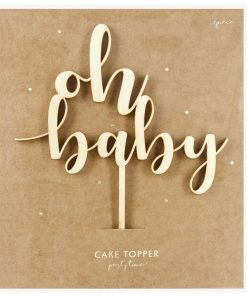 Topper tort din lemn Oh Baby - Party Deco