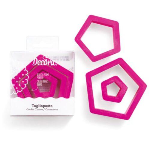 Set 3 buc Decupatoare din plastic-Pentagon-Decora