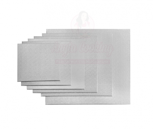 Disc pentru tort, patrat, argintiu -2mm grosime-Anyta Cooking
