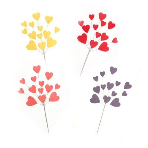 Set 12 Toppere Inimioare in 4 culori -26 cm - DeKora