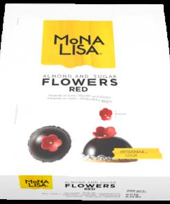Decoratiune pasta de zahar, flori rosii diam- 2.2 cm, 200 buc/cutie - Mona Lisa
