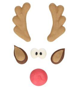 Set 6 buc decor comestib din zahar-Ren de Craciun-Funcakes