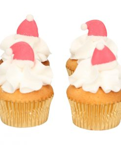Set 8 buc decor comestibil din zahar-Caciula lui Mos Craciun-Funcakes