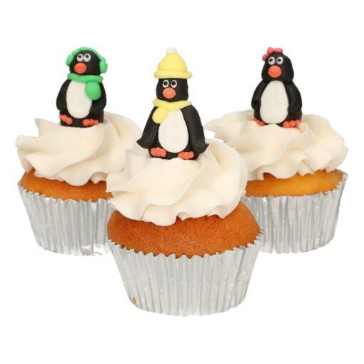 Set 3 buc decor comestibil din zahar-Pinguin 3D-Funcakes